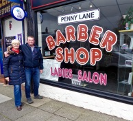 Penny Lane there is a barber showing photographs......